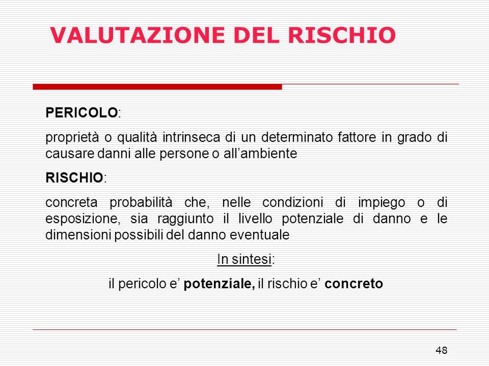 48 VALUTAZIONE DEL RISCHIO PERICOLO: proprietà o qualità intrinseca di un determinato fattore in grado di causare danni alle persone o allambiente RIS