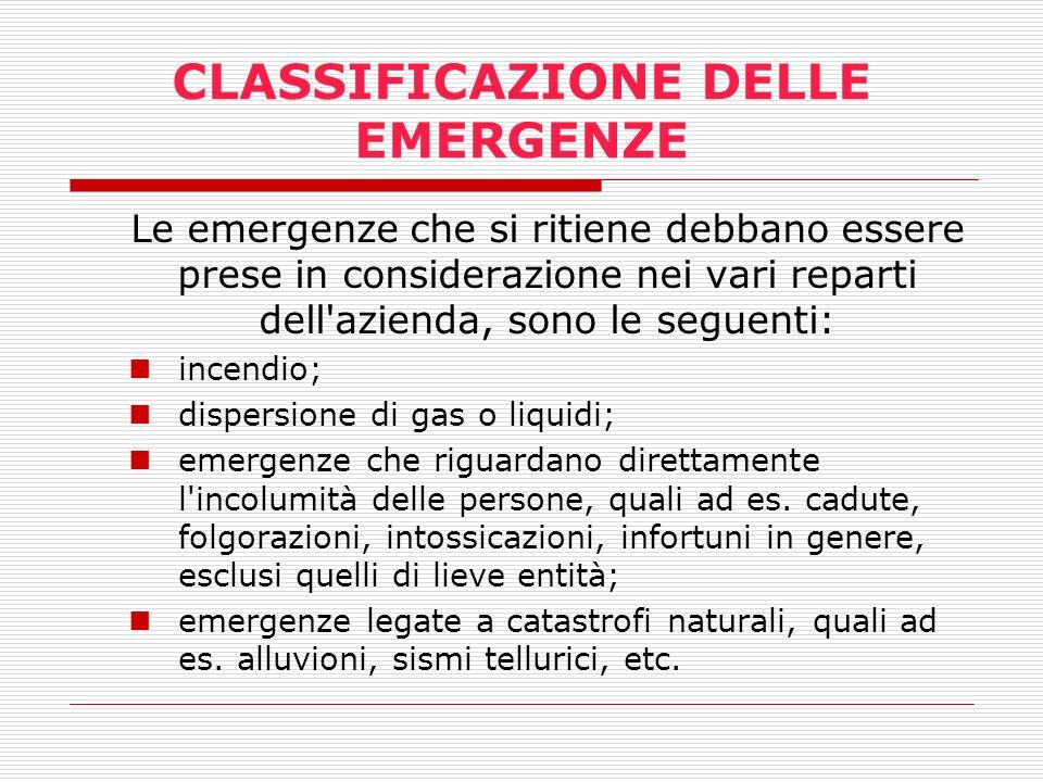 CLASSIFICAZIONE DELLE EMERGENZE Le emergenze che si ritiene debbano essere prese in considerazione nei vari reparti dell'azienda, sono le seguenti: in