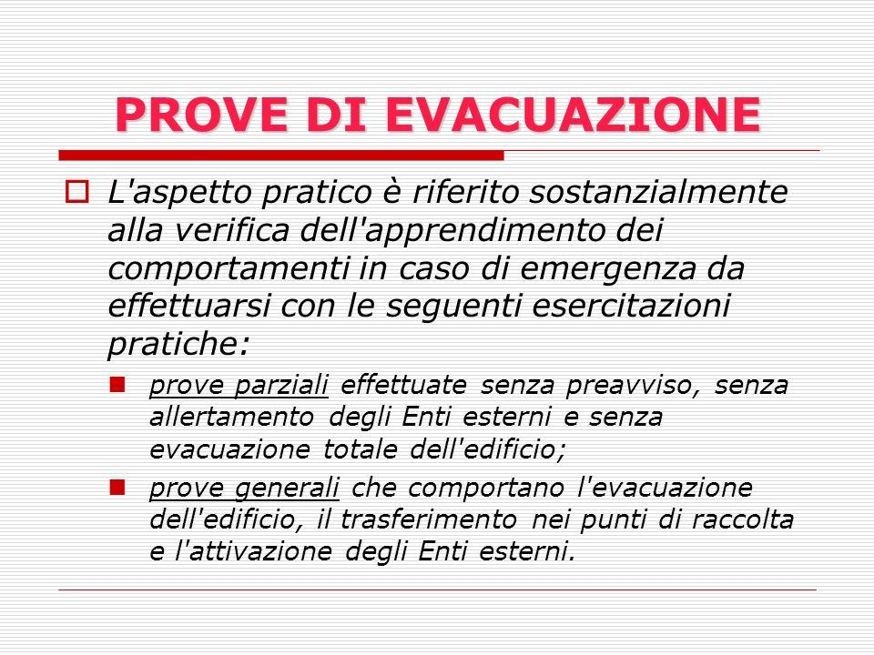 PROVE DI EVACUAZIONE L'aspetto pratico è riferito sostanzialmente alla verifica dell'apprendimento dei comportamenti in caso di emergenza da effettuar