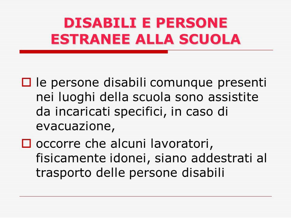 DISABILI E PERSONE ESTRANEE ALLA SCUOLA le persone disabili comunque presenti nei luoghi della scuola sono assistite da incaricati specifici, in caso