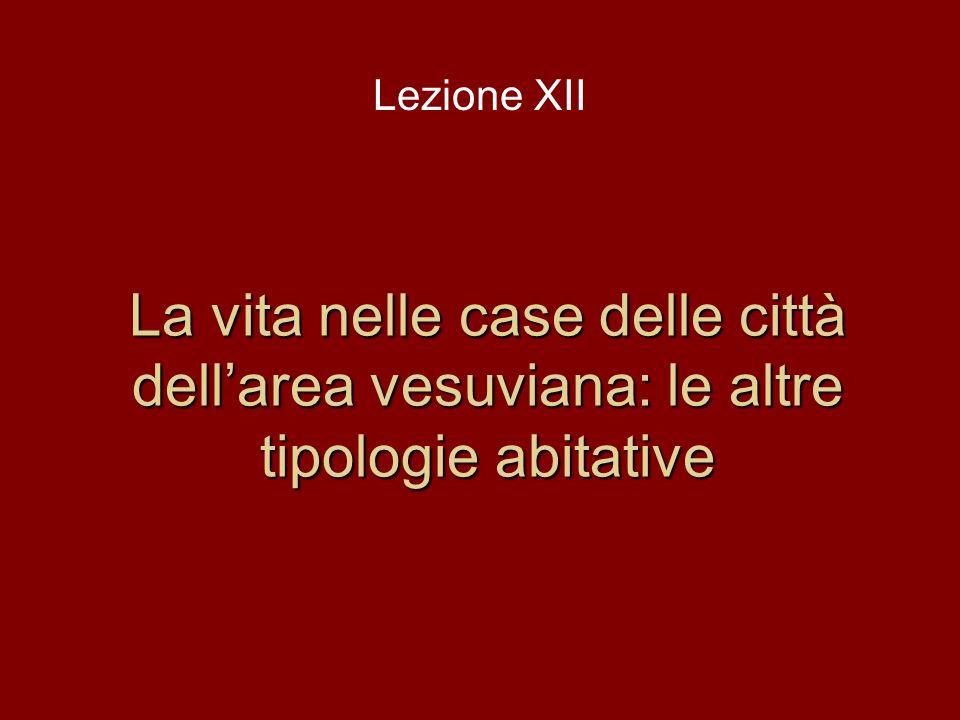 La vita nelle case delle città dellarea vesuviana: le altre tipologie abitative Lezione XII