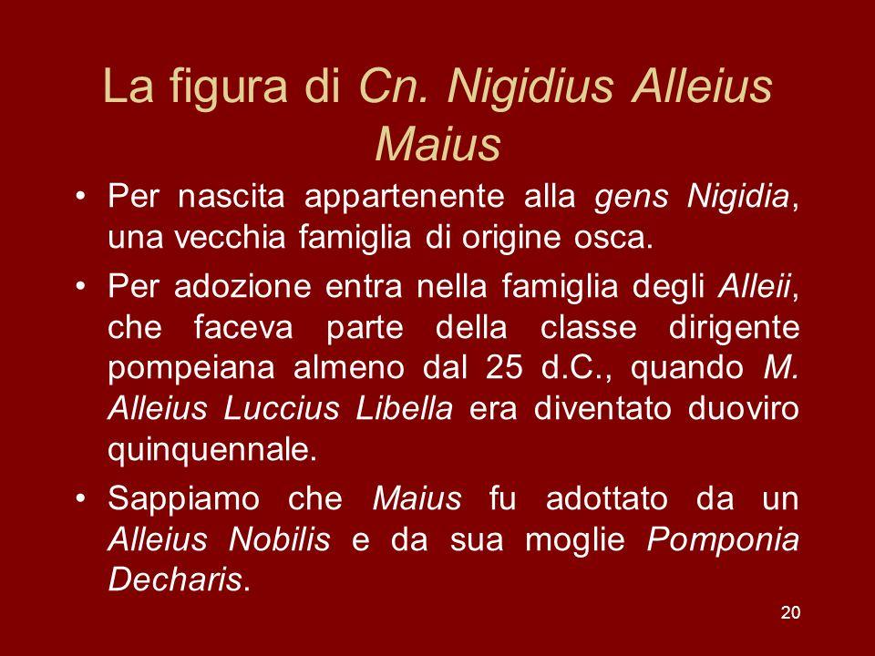 20 La figura di Cn. Nigidius Alleius Maius Per nascita appartenente alla gens Nigidia, una vecchia famiglia di origine osca. Per adozione entra nella