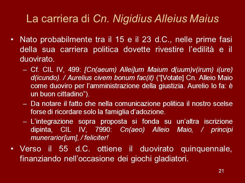 21 La carriera di Cn. Nigidius Alleius Maius Nato probabilmente tra il 15 e il 23 d.C., nelle prime fasi della sua carriera politica dovette rivestire