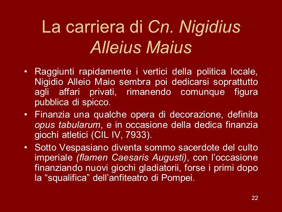 22 La carriera di Cn. Nigidius Alleius Maius Raggiunti rapidamente i vertici della politica locale, Nigidio Alleio Maio sembra poi dedicarsi soprattut