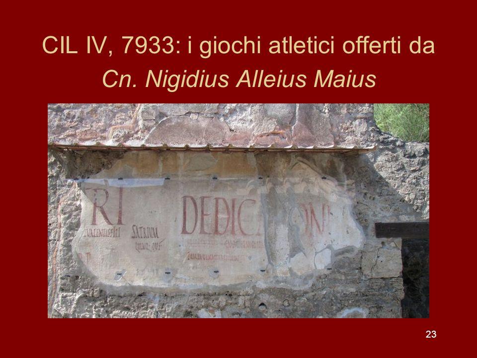 23 CIL IV, 7933: i giochi atletici offerti da Cn. Nigidius Alleius Maius
