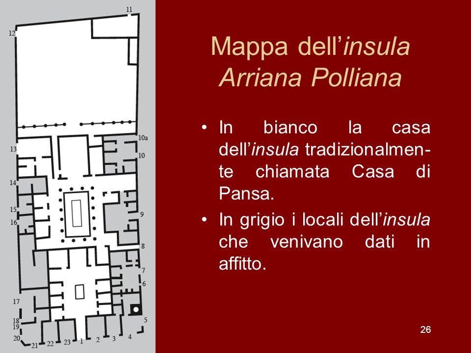 26 Mappa dellinsula Arriana Polliana In bianco la casa dellinsula tradizionalmen- te chiamata Casa di Pansa. In grigio i locali dellinsula che venivan