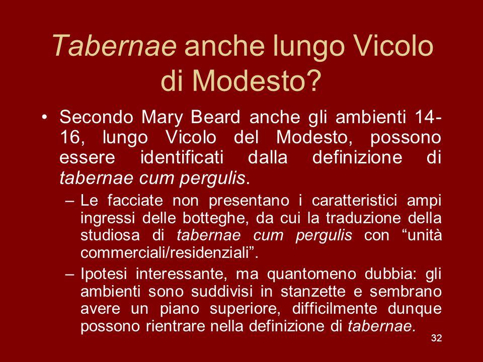 32 Tabernae anche lungo Vicolo di Modesto? Secondo Mary Beard anche gli ambienti 14- 16, lungo Vicolo del Modesto, possono essere identificati dalla d