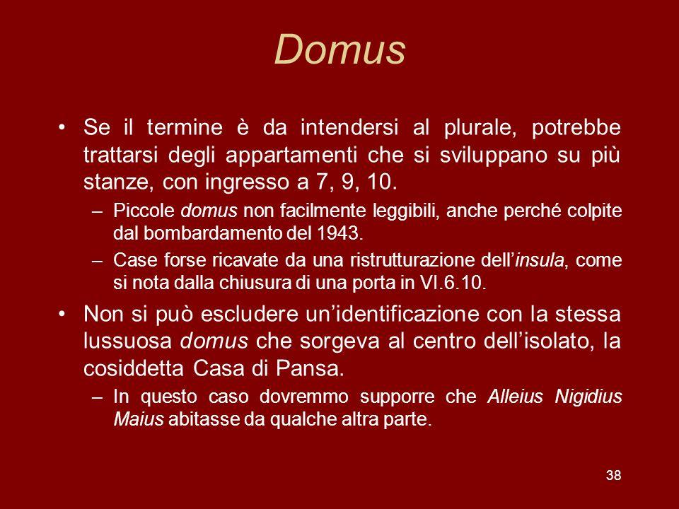 38 Domus Se il termine è da intendersi al plurale, potrebbe trattarsi degli appartamenti che si sviluppano su più stanze, con ingresso a 7, 9, 10. –Pi