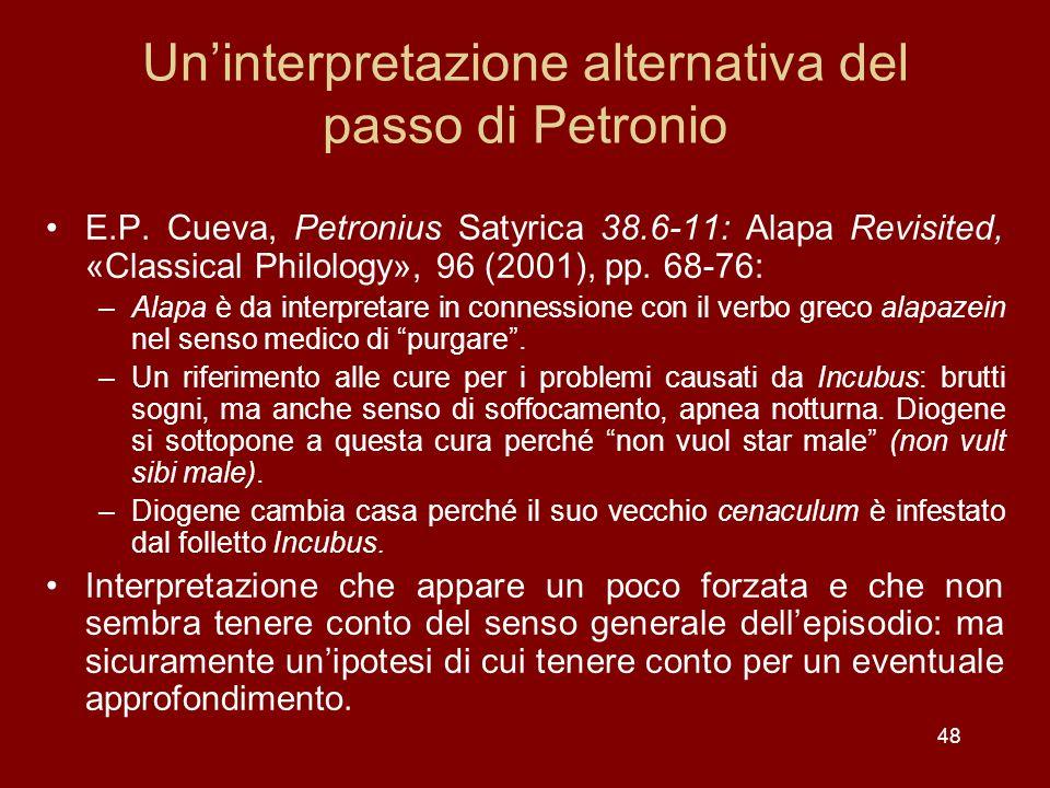 48 Uninterpretazione alternativa del passo di Petronio E.P. Cueva, Petronius Satyrica 38.6-11: Alapa Revisited, «Classical Philology», 96 (2001), pp.