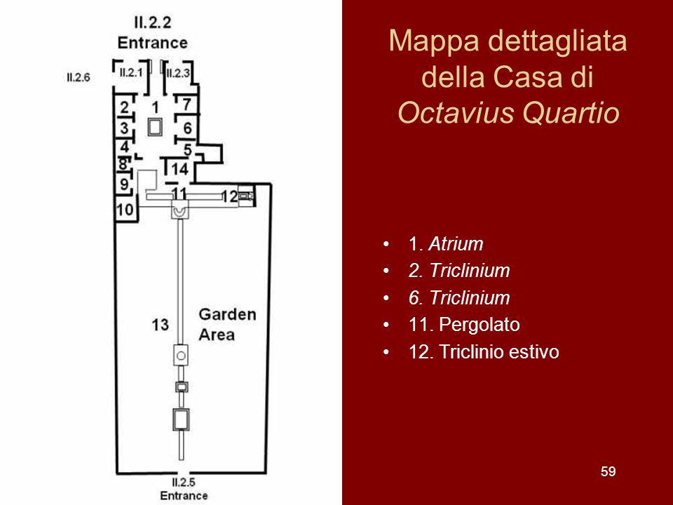 Mappa dettagliata della Casa di Octavius Quartio 1. Atrium 2. Triclinium 6. Triclinium 11. Pergolato 12. Triclinio estivo 59