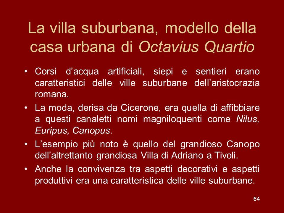64 La villa suburbana, modello della casa urbana di Octavius Quartio Corsi dacqua artificiali, siepi e sentieri erano caratteristici delle ville subur