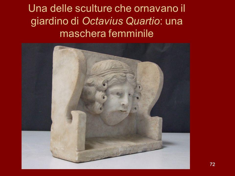 Una delle sculture che ornavano il giardino di Octavius Quartio: una maschera femminile 72