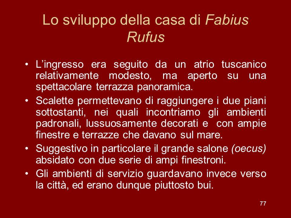 Lo sviluppo della casa di Fabius Rufus Lingresso era seguito da un atrio tuscanico relativamente modesto, ma aperto su una spettacolare terrazza panor