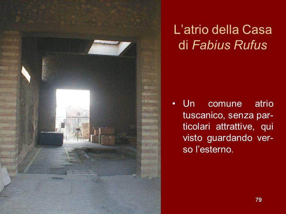Latrio della Casa di Fabius Rufus Un comune atrio tuscanico, senza par- ticolari attrattive, qui visto guardando ver- so lesterno. 79