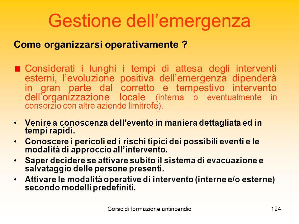 Corso di formazione antincendio124 Gestione dellemergenza Come organizzarsi operativamente .