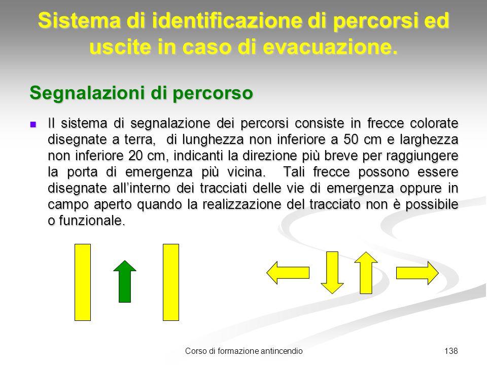 138Corso di formazione antincendio Sistema di identificazione di percorsi ed uscite in caso di evacuazione.