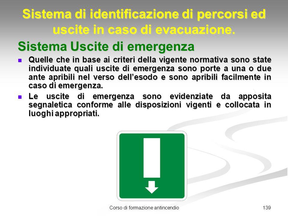 139Corso di formazione antincendio Sistema di identificazione di percorsi ed uscite in caso di evacuazione.