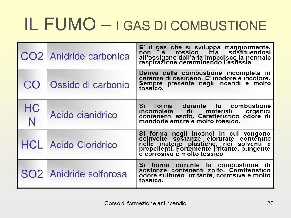 Corso di formazione antincendio26 IL FUMO – I GAS DI COMBUSTIONE CO2 Anidride carbonica E il gas che si sviluppa maggiormente, non è tossico ma sostituendosi allossigeno dellaria impedisce la normale respirazione determinando lasfissia CO Ossido di carbonio Deriva dalla combustione incompleta in carenza di ossigeno.