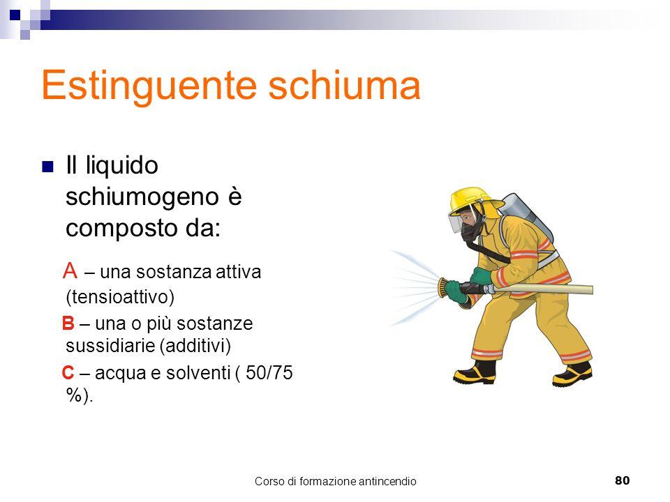 Corso di formazione antincendio80 Estinguente schiuma Il liquido schiumogeno è composto da: A – una sostanza attiva (tensioattivo) B – una o più sostanze sussidiarie (additivi) C – acqua e solventi ( 50/75 %).