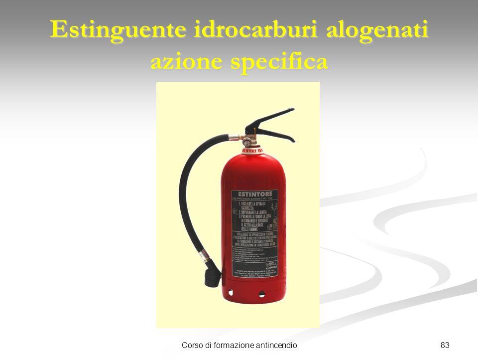 83Corso di formazione antincendio Estinguente idrocarburi alogenati azione specifica