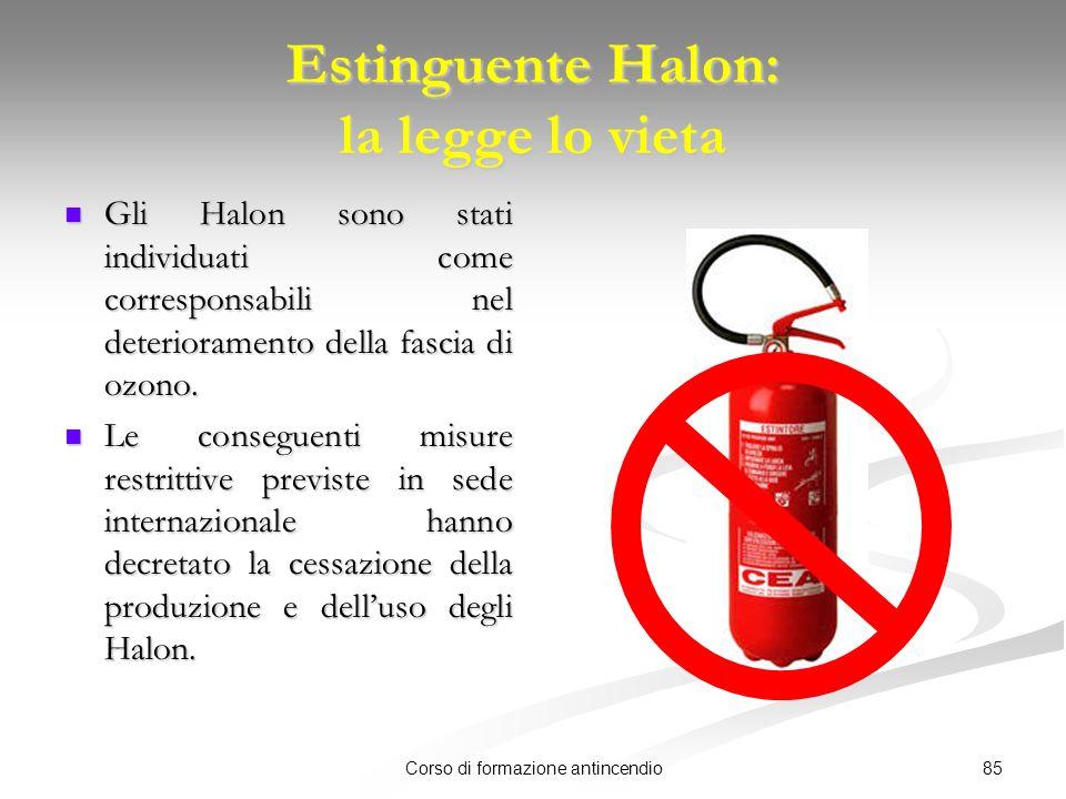 85Corso di formazione antincendio Estinguente Halon: la legge lo vieta Gli Halon sono stati individuati come corresponsabili nel deterioramento della fascia di ozono.