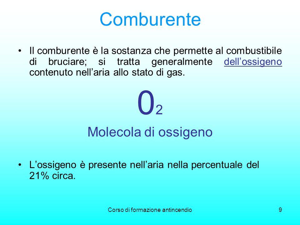 Corso di formazione antincendio9 Comburente Il comburente è la sostanza che permette al combustibile di bruciare; si tratta generalmente dellossigeno contenuto nellaria allo stato di gas.
