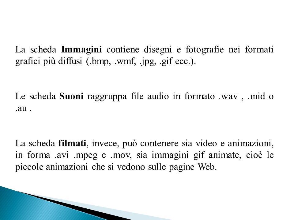 La scheda Immagini contiene disegni e fotografie nei formati grafici più diffusi (.bmp,.wmf,.jpg,.gif ecc.). Le scheda Suoni raggruppa file audio in f