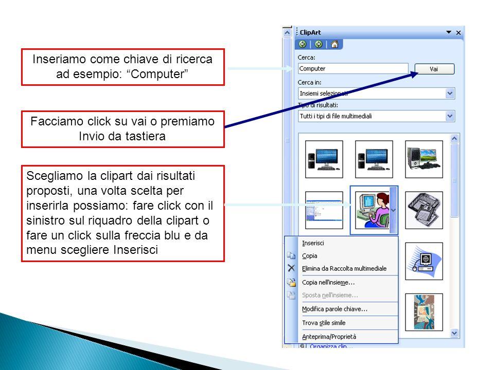 Inseriamo come chiave di ricerca ad esempio: Computer Facciamo click su vai o premiamo Invio da tastiera Scegliamo la clipart dai risultati proposti, una volta scelta per inserirla possiamo: fare click con il sinistro sul riquadro della clipart o fare un click sulla freccia blu e da menu scegliere Inserisci
