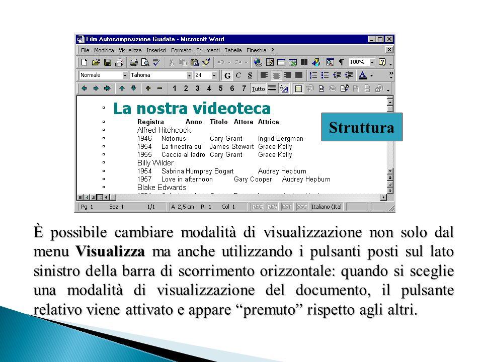 È possibile cambiare modalità di visualizzazione non solo dal menu Visualizza ma anche utilizzando i pulsanti posti sul lato sinistro della barra di s