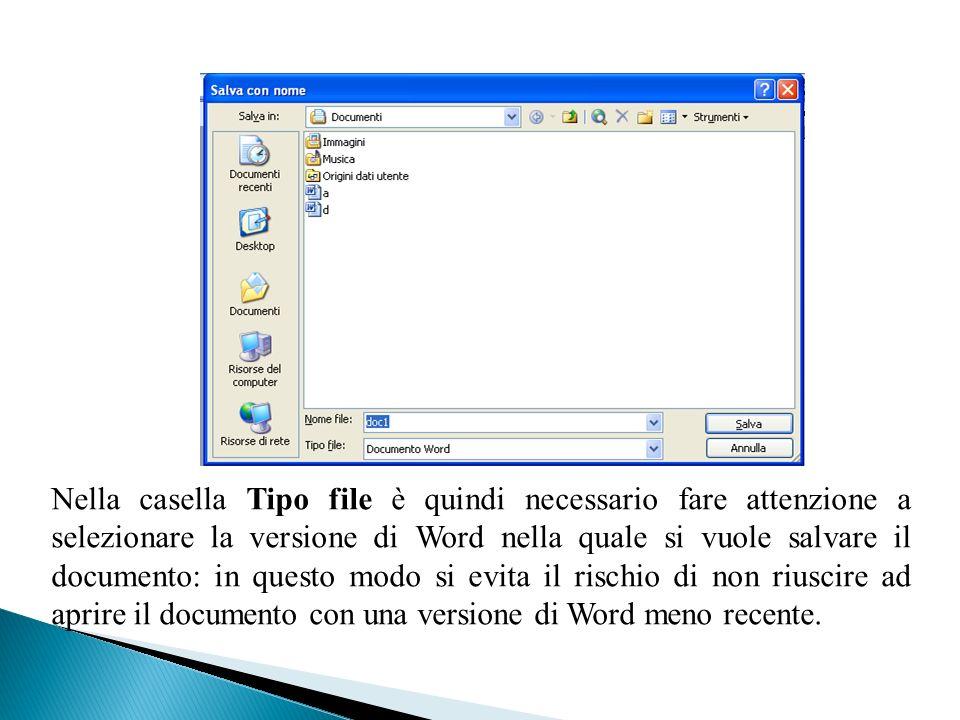 Nella casella Tipo file è quindi necessario fare attenzione a selezionare la versione di Word nella quale si vuole salvare il documento: in questo mod