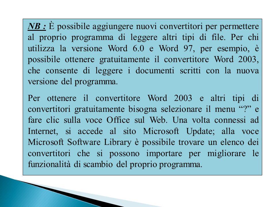 NB : È possibile aggiungere nuovi convertitori per permettere al proprio programma di leggere altri tipi di file. Per chi utilizza la versione Word 6.