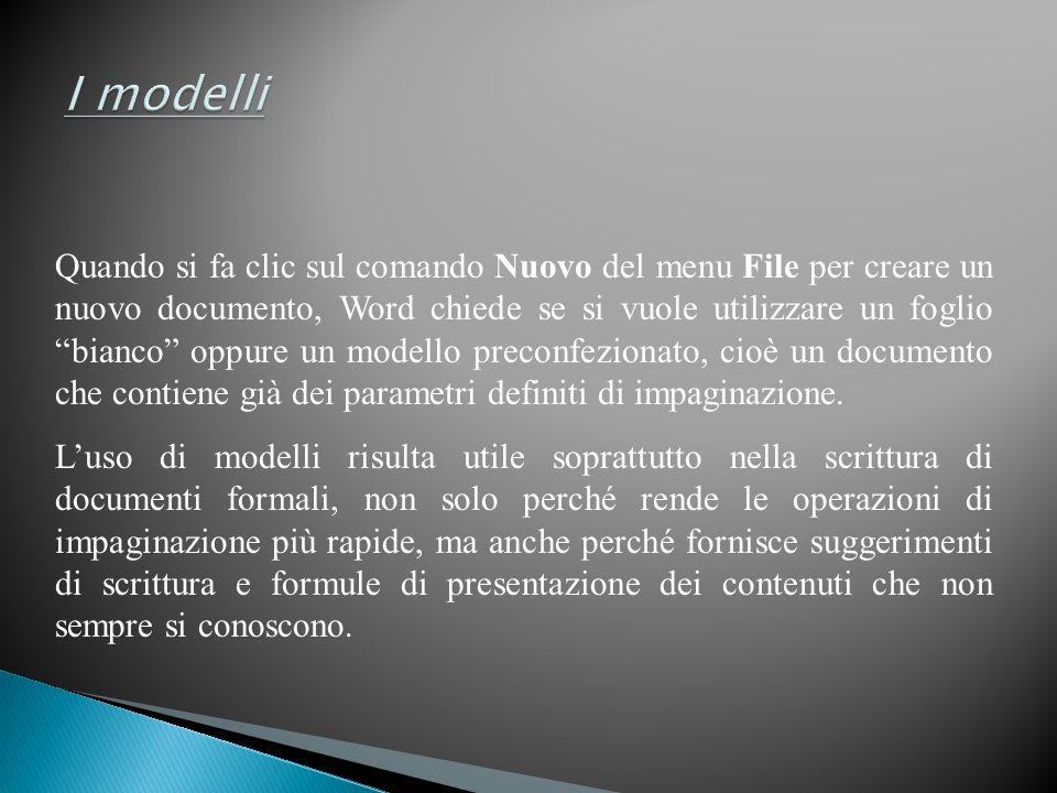 Quando si fa clic sul comando Nuovo del menu File per creare un nuovo documento, Word chiede se si vuole utilizzare un foglio bianco oppure un modello