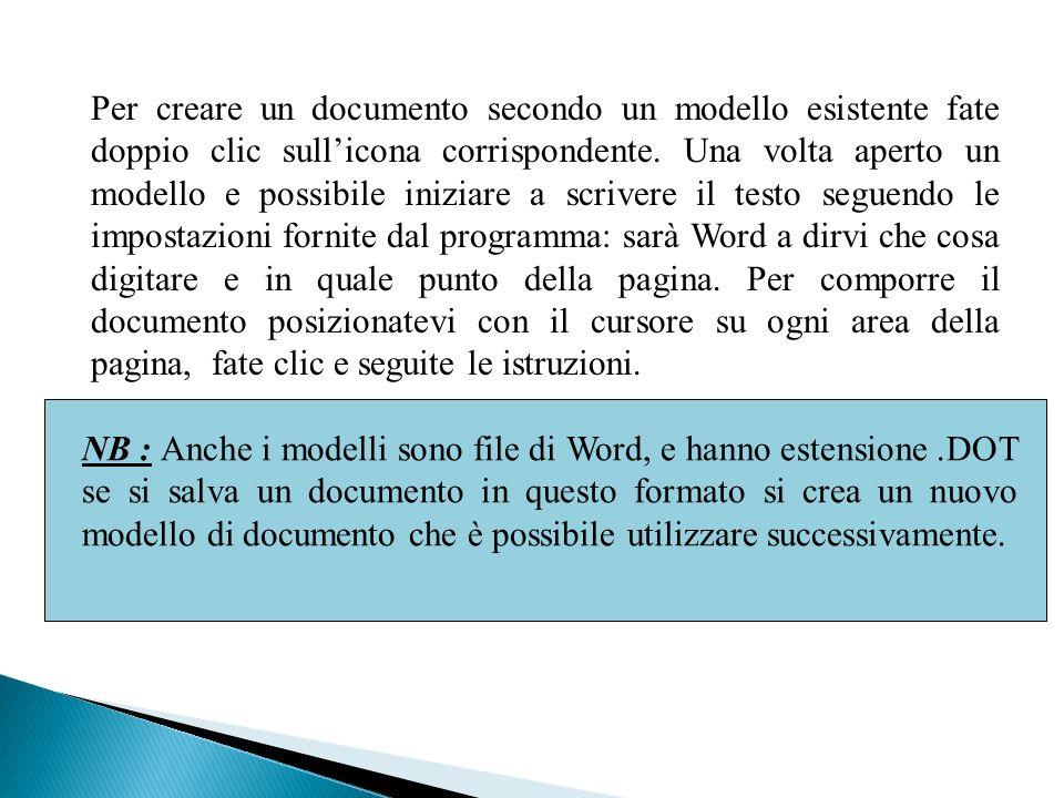 Per creare un documento secondo un modello esistente fate doppio clic sullicona corrispondente.