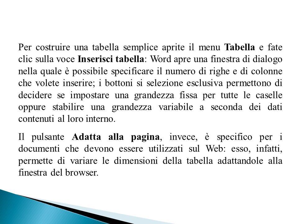 Per costruire una tabella semplice aprite il menu Tabella e fate clic sulla voce Inserisci tabella: Word apre una finestra di dialogo nella quale è po