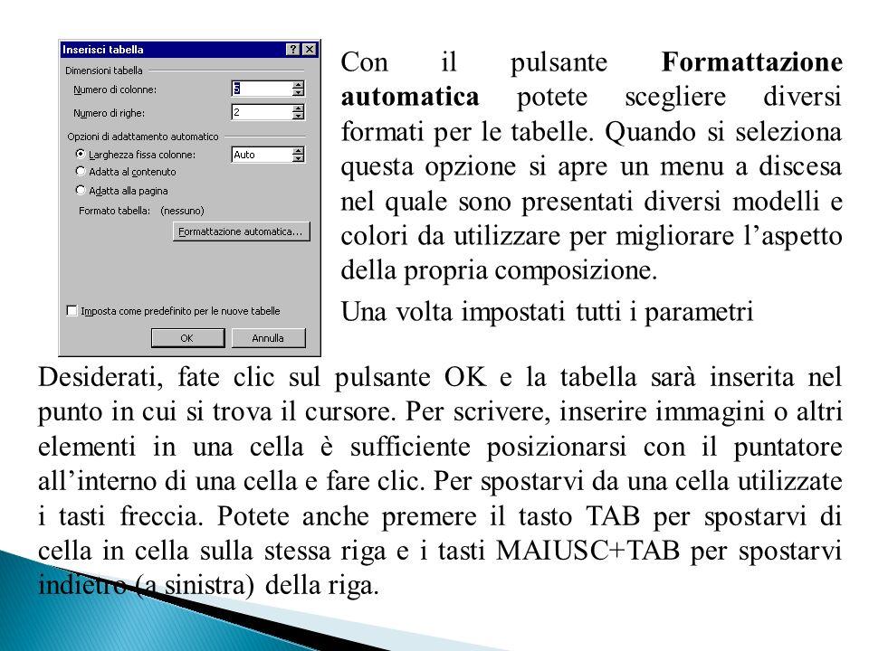 Con il pulsante Formattazione automatica potete scegliere diversi formati per le tabelle. Quando si seleziona questa opzione si apre un menu a discesa