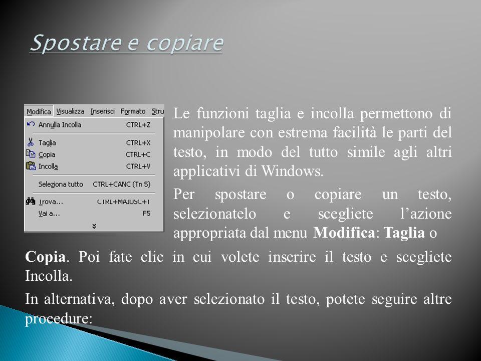 Le funzioni taglia e incolla permettono di manipolare con estrema facilità le parti del testo, in modo del tutto simile agli altri applicativi di Windows.