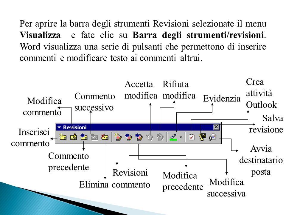Per aprire la barra degli strumenti Revisioni selezionate il menu Visualizza e fate clic su Barra degli strumenti/revisioni.