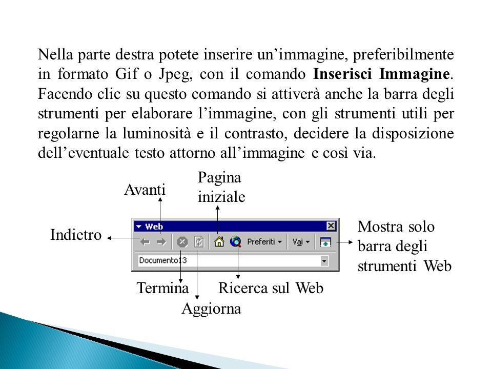 Nella parte destra potete inserire unimmagine, preferibilmente in formato Gif o Jpeg, con il comando Inserisci Immagine.
