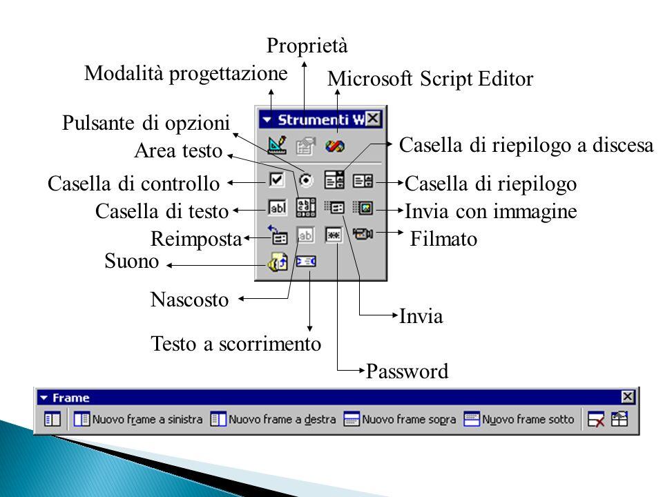 Modalità progettazione Proprietà Microsoft Script Editor Pulsante di opzioni Area testo Casella di controllo Casella di testo Reimposta Suono Nascosto