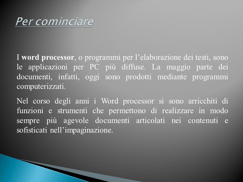 I word processor, o programmi per lelaborazione dei testi, sono le applicazioni per PC più diffuse. La maggio parte dei documenti, infatti, oggi sono