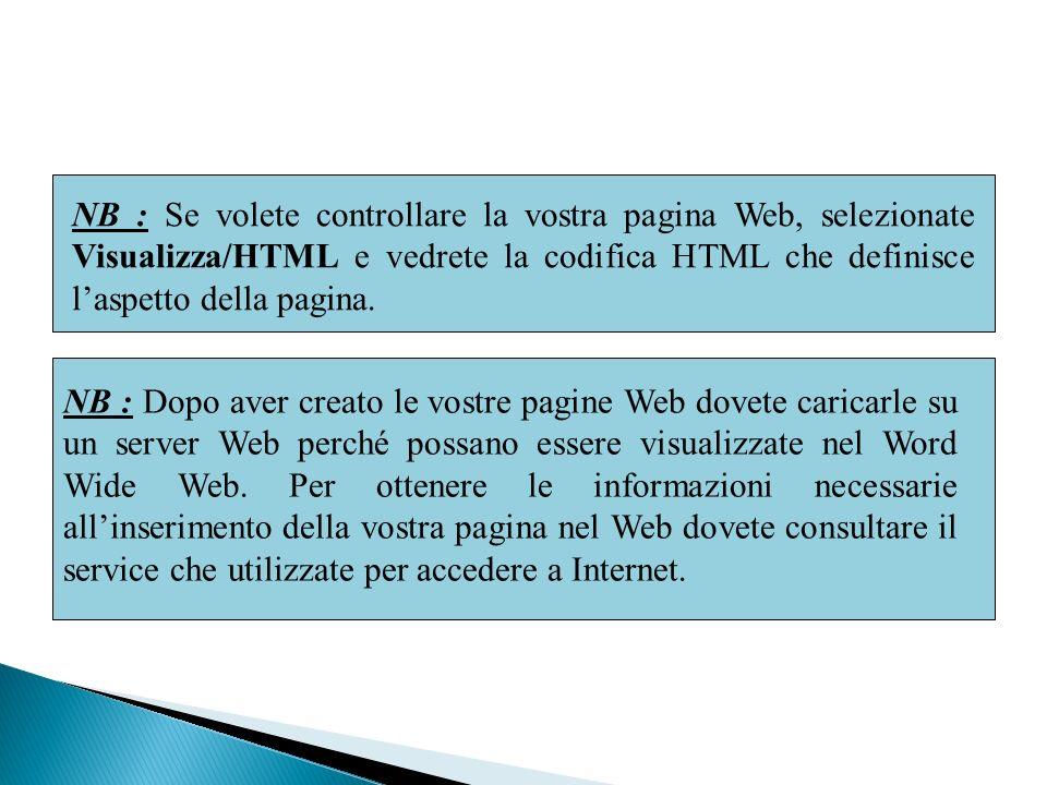 NB : Se volete controllare la vostra pagina Web, selezionate Visualizza/HTML e vedrete la codifica HTML che definisce laspetto della pagina. NB : Dopo