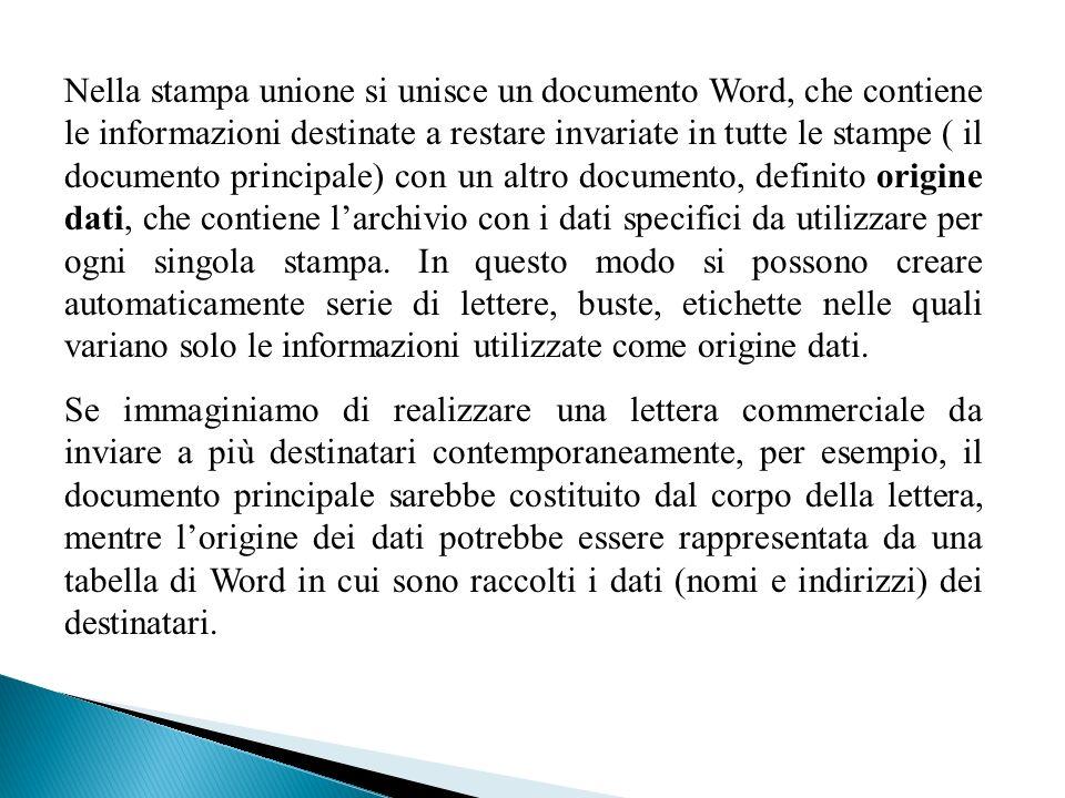 Nella stampa unione si unisce un documento Word, che contiene le informazioni destinate a restare invariate in tutte le stampe ( il documento principa