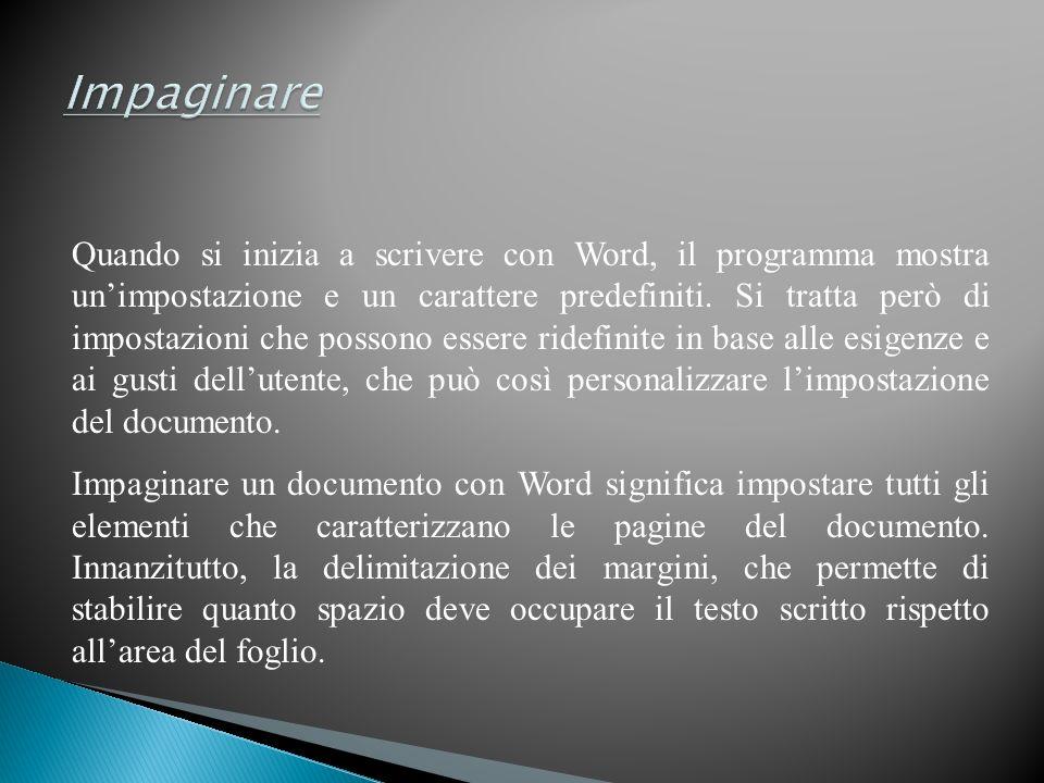 Quando si inizia a scrivere con Word, il programma mostra unimpostazione e un carattere predefiniti.