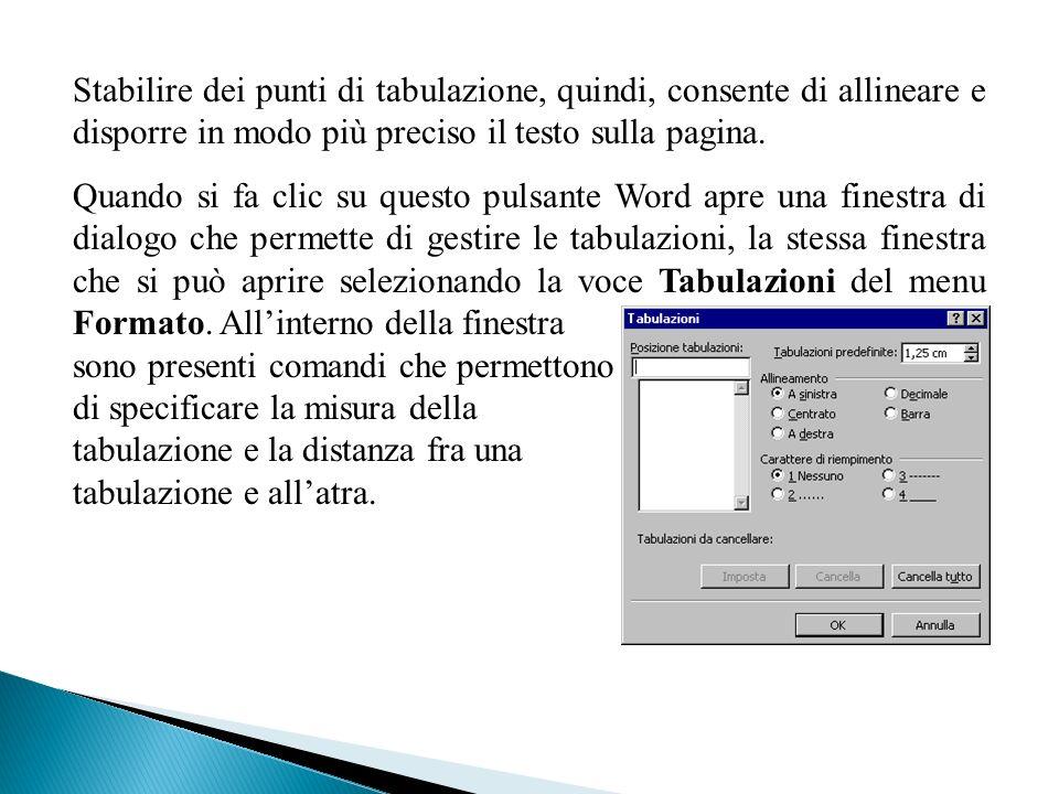 Stabilire dei punti di tabulazione, quindi, consente di allineare e disporre in modo più preciso il testo sulla pagina. Quando si fa clic su questo pu