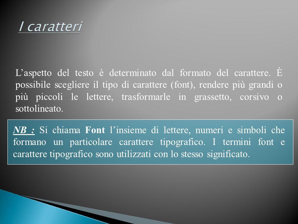 Laspetto del testo è determinato dal formato del carattere. È possibile scegliere il tipo di carattere (font), rendere più grandi o più piccoli le let