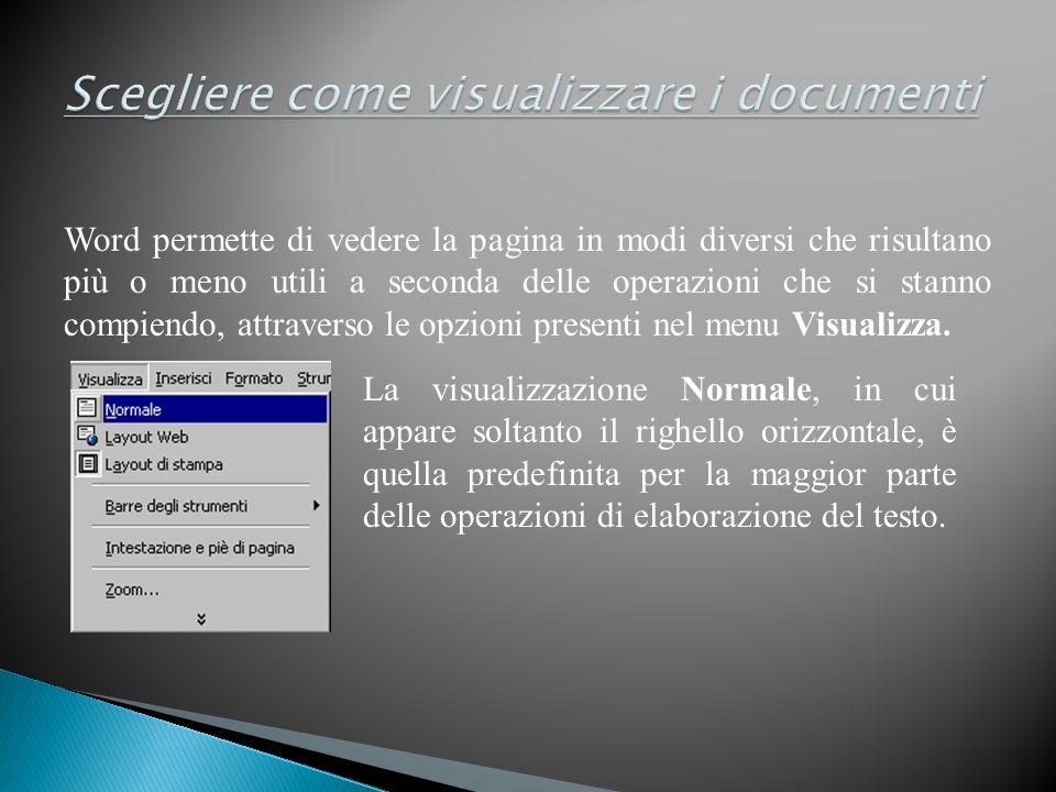 Word permette di vedere la pagina in modi diversi che risultano più o meno utili a seconda delle operazioni che si stanno compiendo, attraverso le opzioni presenti nel menu Visualizza.