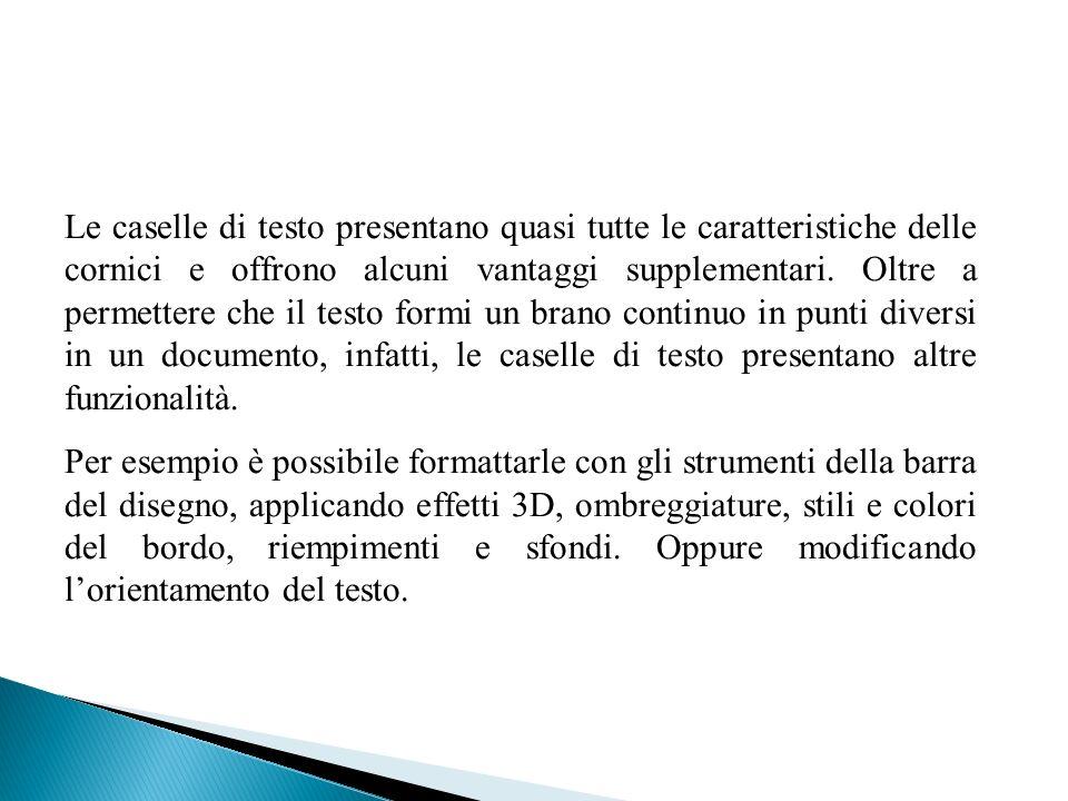 Le caselle di testo presentano quasi tutte le caratteristiche delle cornici e offrono alcuni vantaggi supplementari. Oltre a permettere che il testo f