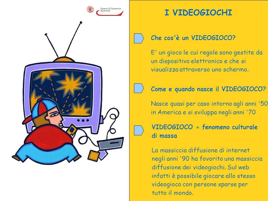I VIDEOGIOCHI Che cos'è un VIDEOGIOCO? E' un gioco le cui regole sono gestite da un dispositivo elettronico e che si visualizza attraverso uno schermo