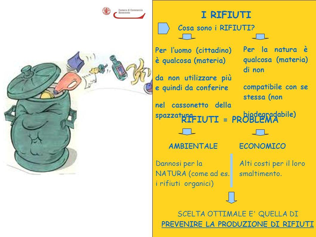 I RIFIUTI Cosa sono i RIFIUTI? RIFIUTI = PROBLEMA AMBIENTALE Dannosi per la NATURA (come ad es. i rifiuti organici) ECONOMICO Alti costi per il loro s