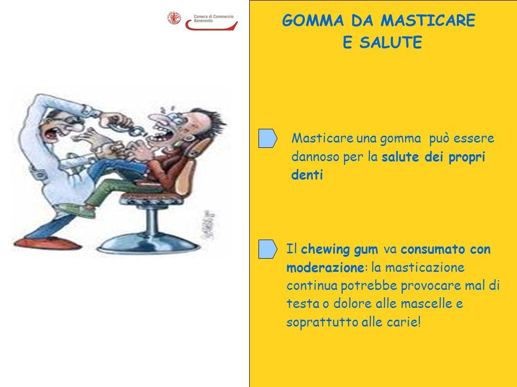 GOMMA DA MASTICARE E SALUTE Masticare una gomma può essere dannoso per la salute dei propri denti Il chewing gum va consumato con moderazione: la mast